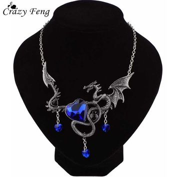 Vintage Punk Gothic Red or Blue Big Crystal Fly Dragon Necklace