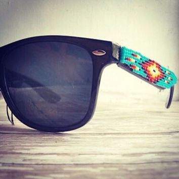 Black Frame Native American Beaded Sunglasses by OraLouiseJewelry