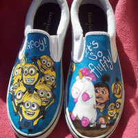 SALE Despicable Me Minion Agnes and Unicorn Custom Painted Shoes.  Wearable Art. ANY SIZE