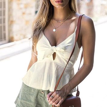 Spaghetti Strap Bow White Crop Top Deep V Neck Sexy Short Shirt Backless Ruffle Boho Beach Solid Camis