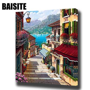 BAISITE Framed Landscape DIY Oil Painting By Numbers Wall Art Painting&Calligraphy Home Decor Picture E730 40x50cm