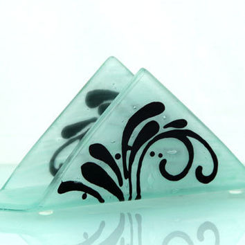 Fused glass  napkin holder - black silhouette pattern