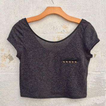 Military Star Crop Top