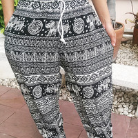 Black Elephants Printed Yoga Pants Hippie Baggy Boho Styles Gypsy Pantalon Tribal Hipster Plus Size Aladdin Clothing Beach Baggy Unisex Zen