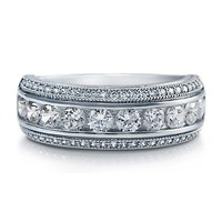 Cubic Zirconia CZ 925 Sterling Silver Domed Fashion Right Hand Ring #r654