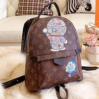 LV Louis Vuitton Woman Leather Doraemon Print Travel Bookbag Shoulder Bag Backpack