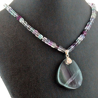 Rainbow Fluorite Pendant Necklace - Gemstone - Handmade