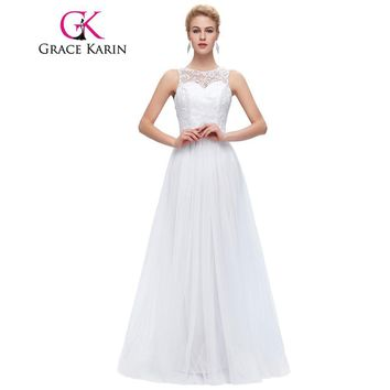 Grace Karin Lace Long Prom Dresses White Black Mint Green Prom Dress 2017 Sleeveless Floor Length Elegant Wedding Formal Dress