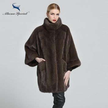 Athena Special 2018 Brand Fur Clothing Women Sable Genuine Mink Coat 85CM Length Mandarin Real Natural Fur Coat Mink Medium