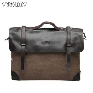 Messenger Bags Canvas Leather Bag Business Briefcase