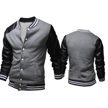Brand Bomber Jacket Men Unique Fashion Pu Leather Sleeve Splice Zipper Baseball Hoodies Autumn Varsity Jacket Blouson Veste Homm