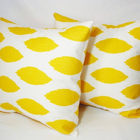 Two Throw Pillow Covers - Yellow and White Ikat Print - 18 x 18 inches Decorative Pillow Accent Pillow