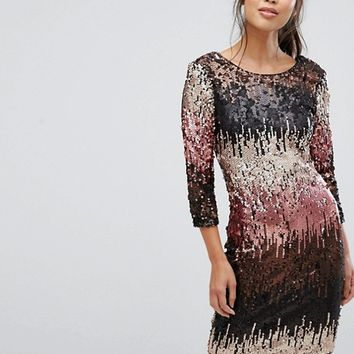 Little Mistress Allover Ombre Sequin Mini Bodycon Dress at asos.com