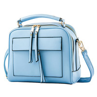Sky Blue Faux Leather Satchel Bag