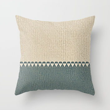 Texture Taupe and Grey Green Pattern Throw Pillow by Sheila Wenzel