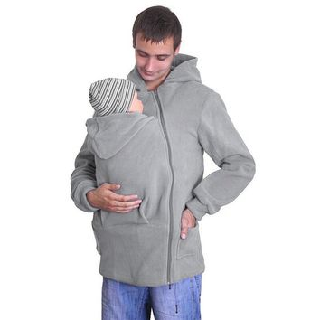 Men's Autumn Baby Carrier Hoodie Zip Up Maternity Kangaroo Hooded Sweatshirt Pullover 2 In 1 Baby Carriers
