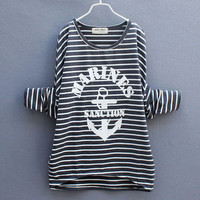 Anchor Loose Stitching Bat Sleeve Striped Sweater