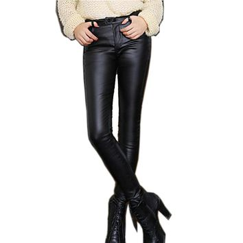 M-3XL 2016 Fashion Thicken Women Leather Pants Winter Warm High Waist Stretch PU Pencil Pants Black Trousers Female Plus Size