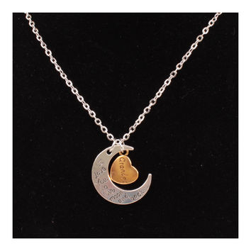 X329 love Valentine's Day love couple of European and American moon necklace ebay jewelry supply   GRANDPA SILVER