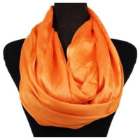 Delicate Days Lightweight 100% Rayon Orange Infinity Scarf