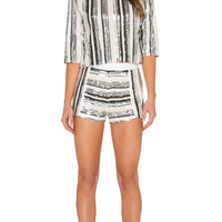 Embellished Striped Crop Top in Silver Combo