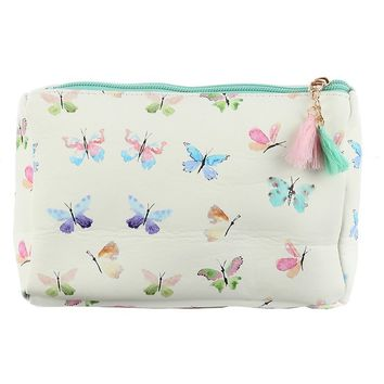 Butterfly Print Vinyl Pouch Wallet Bag Accessory 244
