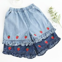 Strawberry Embroidered Ruffled Leg Elastic Waist Denim Shorts