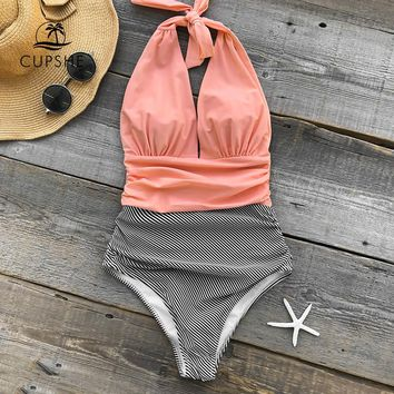 Cupshe Keeping You Accompained Stripe One-piece Swimsuit Backless Deep V neck Sexy Bikini Set 2018 Ladies Beach Bathing Swimwear