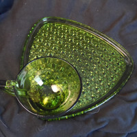Vintage Tea and Toast Plate and Cup- Indiana Pressed Carnival Glass