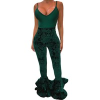 Velvet Bell High Waisted Floral Pants