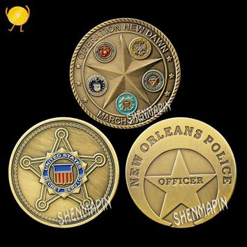 US New Orleans Police, Iraq Gulf War, St. Michael's Patron Saint Commemorative Coin Five Armies Five-pointed Star Challenge Coin