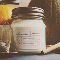 AZMIRA // Pumpkin chai tea and cinnamon spice // 8 Ounce Scented Natural 100% Soy Wax Rustic Mason Jar Container Candle