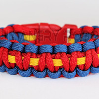 Paracord Bracelet Superhero Inspired - Royal Red Yellow - Red Buckle
