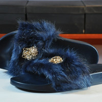 """Versace"" Fur Slipper Shoes (5- colors)"