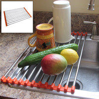 Evelots Stainless Steel Folding Drain Rack Fits in Any Sink - Orange