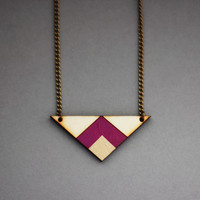 Wooden Geometric Triangle Necklace (Purple - Gold)