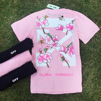 OFF White Trending Women Men Bee Flower Print Round Collar T-Shirt Top Pink