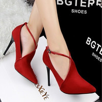women vintage retro Sexy high-Heels hollow bandage suede wedding shoes woman pointed toe