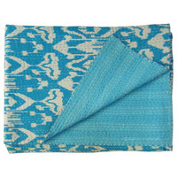 Sky Blue Twin Size Indian Hand Stitched Ikat Kanth Throw Quilt
