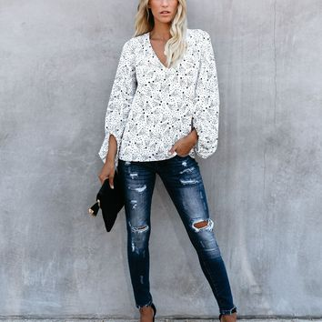 And Beyond Balloon Sleeve Blouse - White