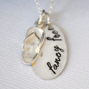 Hand-Stamped Flip-Flop Beach Necklace- Fancy Free or Personalized