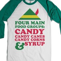 Four Main Food Groups-Unisex White/Evergreen T-Shirt