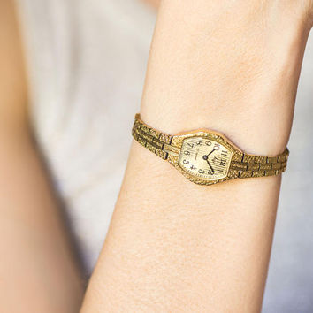 Cocktail watch bracelet Ray, small watch bracelet stripy face, womens wristwatch ornamented, 90s watch fashion gift her, gold shade watch