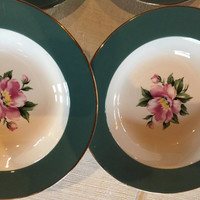 Vintage Mid Century floral China,Homer Laughlin Century Service Empire Green Teal & Pink Floral, mismatch china bowls for wedding shower