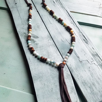 Amazonite Necklace with Wood Beads and Leather Tassel 236U