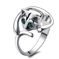 Cute Silver Cat Shaped Ring With Rhinestone Eyes