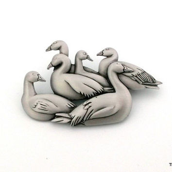 Vintage JJ gaggle of geese goose brooch pin dimensional pewter jewelry
