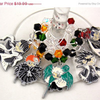 Bleach Anime inspired geeky wine glass charms set of 5 Japanese anime charms handmade wine charms party wine charms