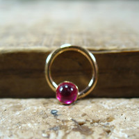 Septum Ring Gold Ruby Gemstone