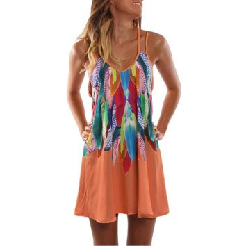 Women's Summer Boho Casual Printed Maxi Party Cocktail Beach Dress Sundress Vintage ladies Double Sided Print Sling Dresses